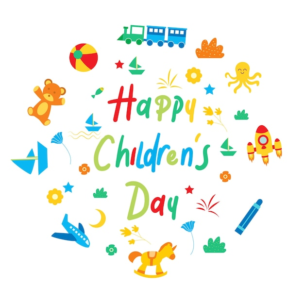 Happy children's day for children celebration logo