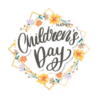 Счастливый детский день, милая открытка с забавными буквами в скандинавском стиле и мультяшный пейзаж