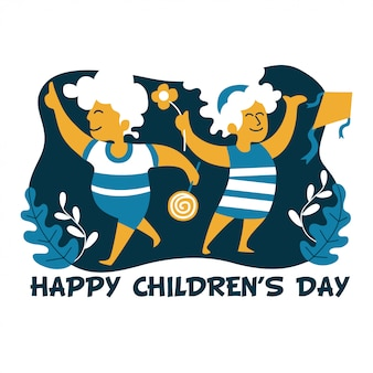 Happy children's day flat style