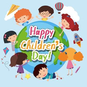 Happy children's day poster with happy kids around the world