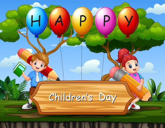 Happy children's day poster with school kids in the park