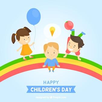 キュートなバックグラウンドを持つ幸せな子供の日