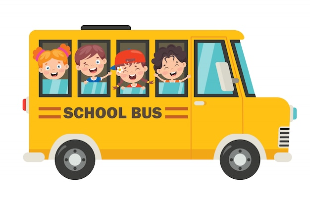 Happy children and school bus