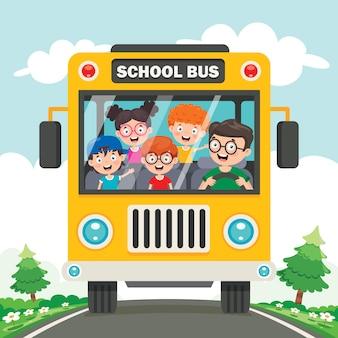 Happy children and school bus