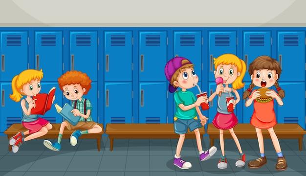 Happy children at school hallway