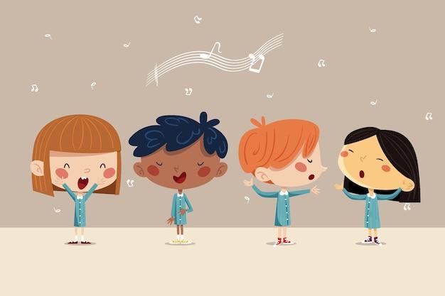 Иллюстрированные счастливые дети поют в хоре