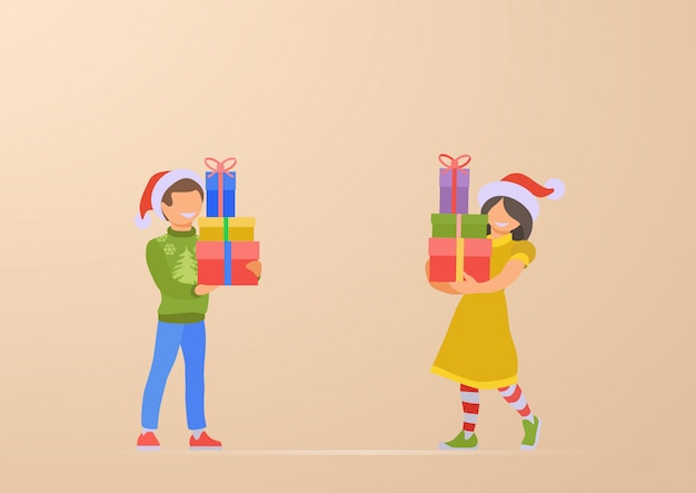 Happy children son and daughter with christmas gifts in hands illustration