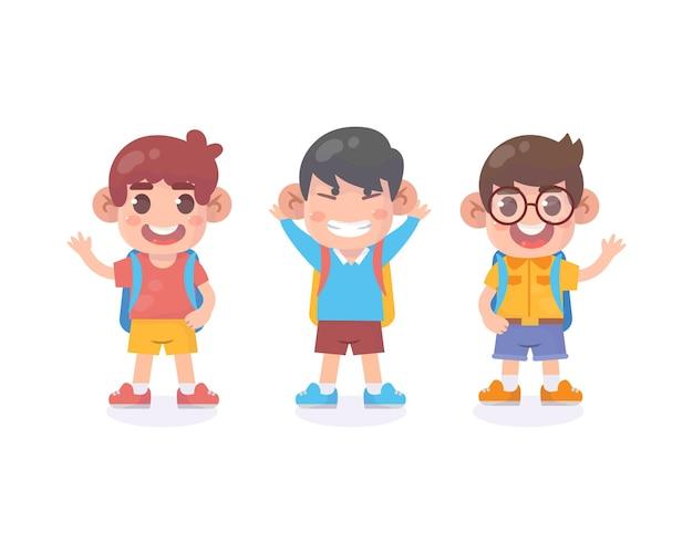 학교에 다시 서 있는 행복한 아이들