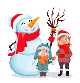 Happy children standing with snowman