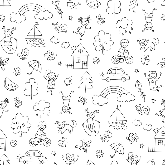 Happy children in summer park. funny small kids play, run and jump. seamless pattern in childish doodle style. hand drawn vector illustration