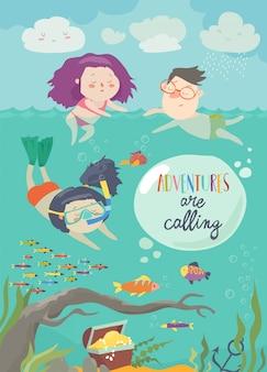 Happy children swimming on sea