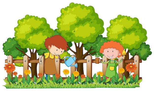 Happy children watering plants in garden