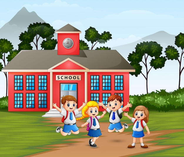 Happy children with backpack on school building
