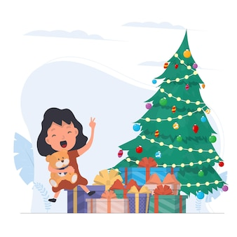 贈り物で幸せな子供たち。幸せな子供たち、ギフトボックス、クリスマスツリー。孤立。ベクター。