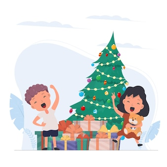 Счастливые дети с подарками. счастливые дети, подарочные коробки, елка. изолированный. вектор.