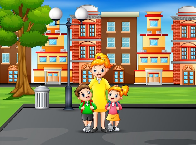 Happy children with their mom in the park
