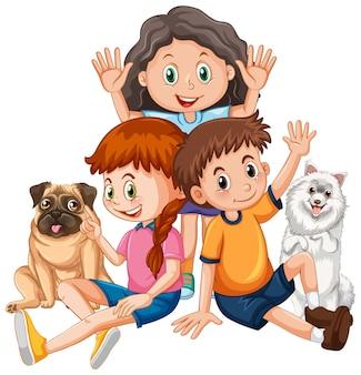 흰색 바탕에 애완동물을 키우는 행복한 아이들