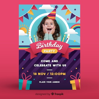 Happy childrens birthday invitation template with photo