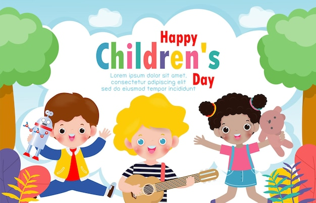 Happy childrens day background poster with happy kids jumping and holding toys isolated  illustration