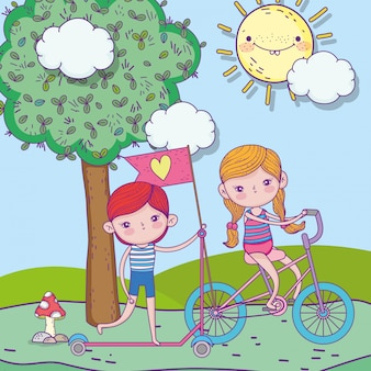 행복 한 어린이 날, 소년 야외 스쿠터와 스쿠터를 타고 소녀