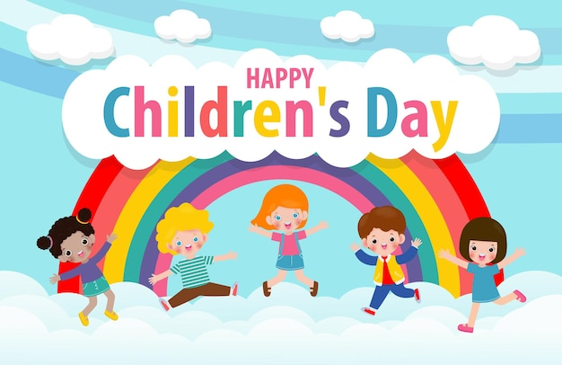 Happy childrens day card with group cute kids jumping on the cloudy sky with rainbow