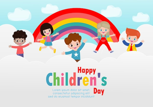 Happy childrens day card with happy kids jumping on the cloud