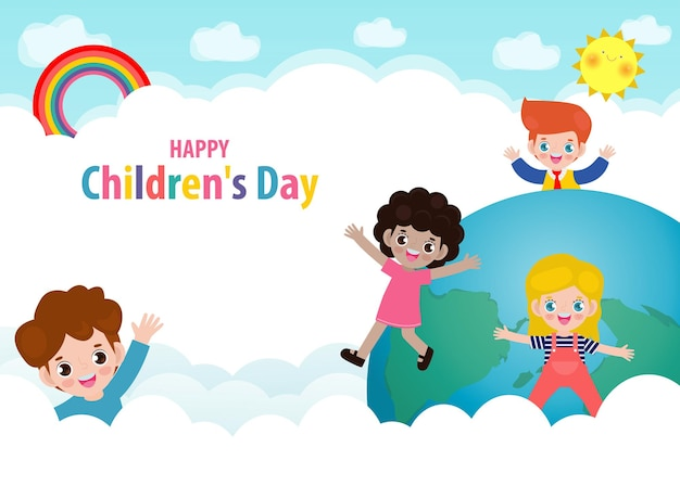 Happy childrens day card with happy kids on world in the cloudy sky