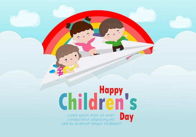 Happy childrens day card with happy three kids flying on a paper airplane in the cloudy sky with rainbow