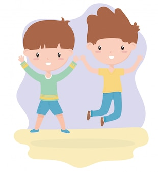 Happy childrens day, cute little boys cartoon celebration vector illustration