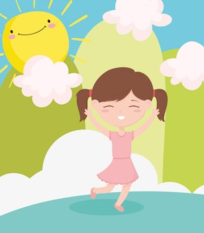 Happy childrens day, cute little girl cartoon celebrating outdoors