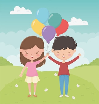 Happy childrens day girl and boy with balloons in the field