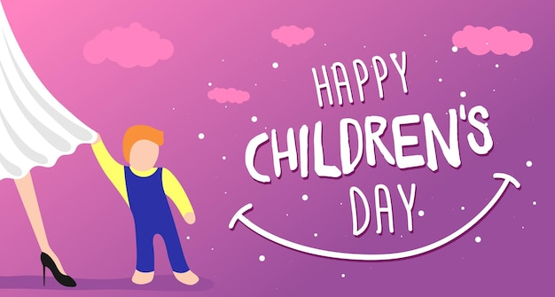 Happy childrens day greeting card, banner or poster. little child clings to mom dress. 1 june world family holiday event design. vector illustration with beautiful woman and kid
