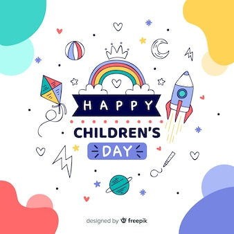 Happy childrens day illustration concept