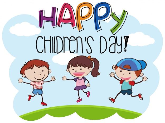 Happy childrens day kid scene