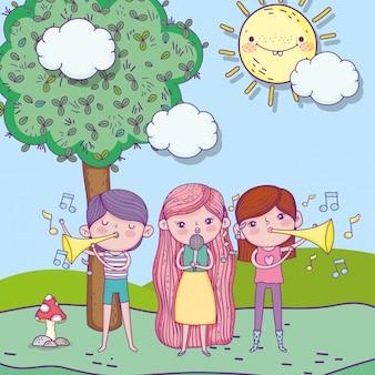 행복한 어린이 날, 마이크와 트럼펫 음악 공원이있는 아이들