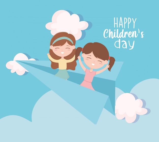 Happy childrens day, little girls on paper plane playing sky cartoon