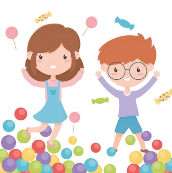 Happy childrens day, smiling little boy and girl candies and colorful balls vector illustration