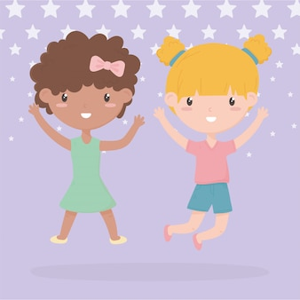 Happy childrens day, two little girls with hands up celebrating cartoon vector illustration