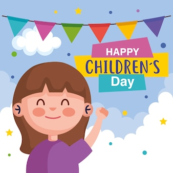 Happy childrens day with girl cartoon design, international celebration theme  illustration