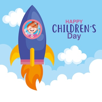 Happy childrens day with girl in rocket design, international celebration theme  illustration