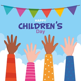 Happy childrens day with hands up design, international celebration theme  illustration