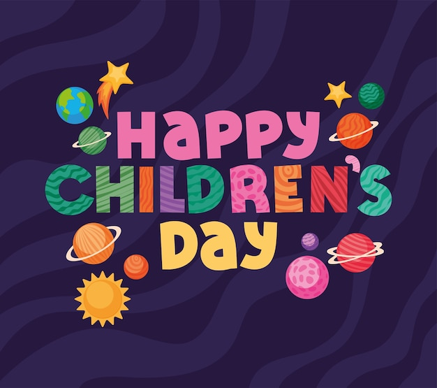 Happy childrens day with space icons design, international celebration theme