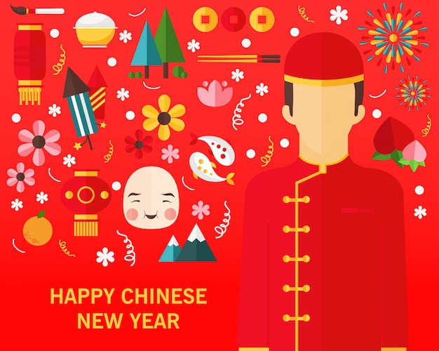 Happy chineese new year concept background.