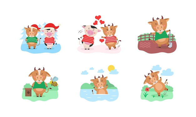 Happy chinese 2021 year calendar template design with cute cow. 2021 calendar design with bull with hobbies in different seasons of the year. set of 12 months. year of the bull.