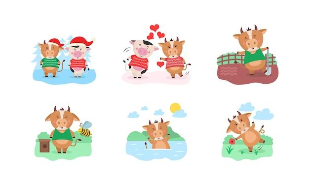 かわいい牛と幸せな中国の2021年カレンダーテンプレートデザイン。今年のさまざまな季節に趣味を持つ雄牛と2021年のカレンダーのデザイン。 12ヶ月セット。雄牛の年。