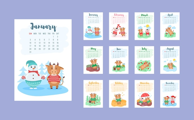 Happy chinese 2021 year calendar template design with cute cow