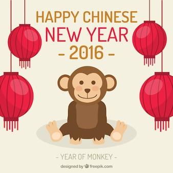 Счастливый китайский новый год с 2 016 милый обезьяны