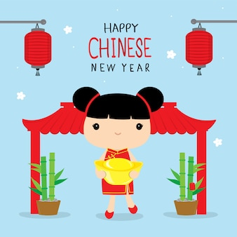 Happy chinese new year 2019 children girl cartoon vector