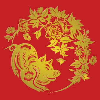 Happy chinese new year 2019 zodiac sign year of the pig with paper cut art and craft style