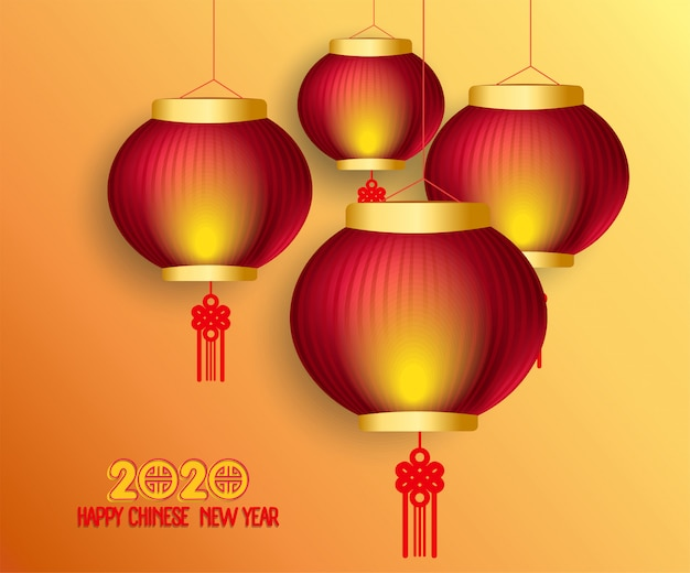 Happy chinese new year 2020 background with lanterns and light effect